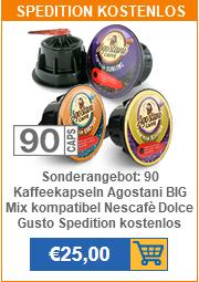 Sonderangebot: 90 Kaffeekapseln Agostani BIG Mix kompatibel Nescafè Dolce Gusto Spedition kostenlos